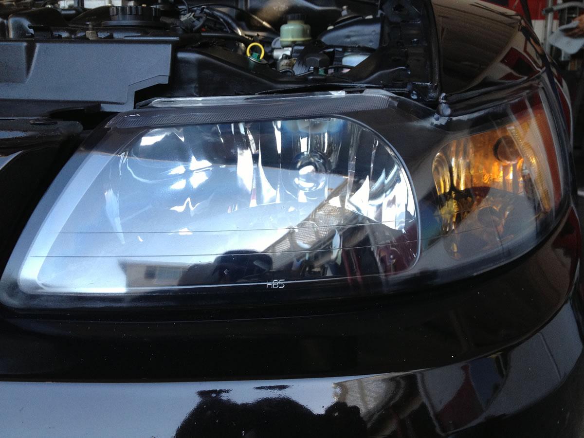 2002 Mustang GT Headlights After Restoration Left Headlight View