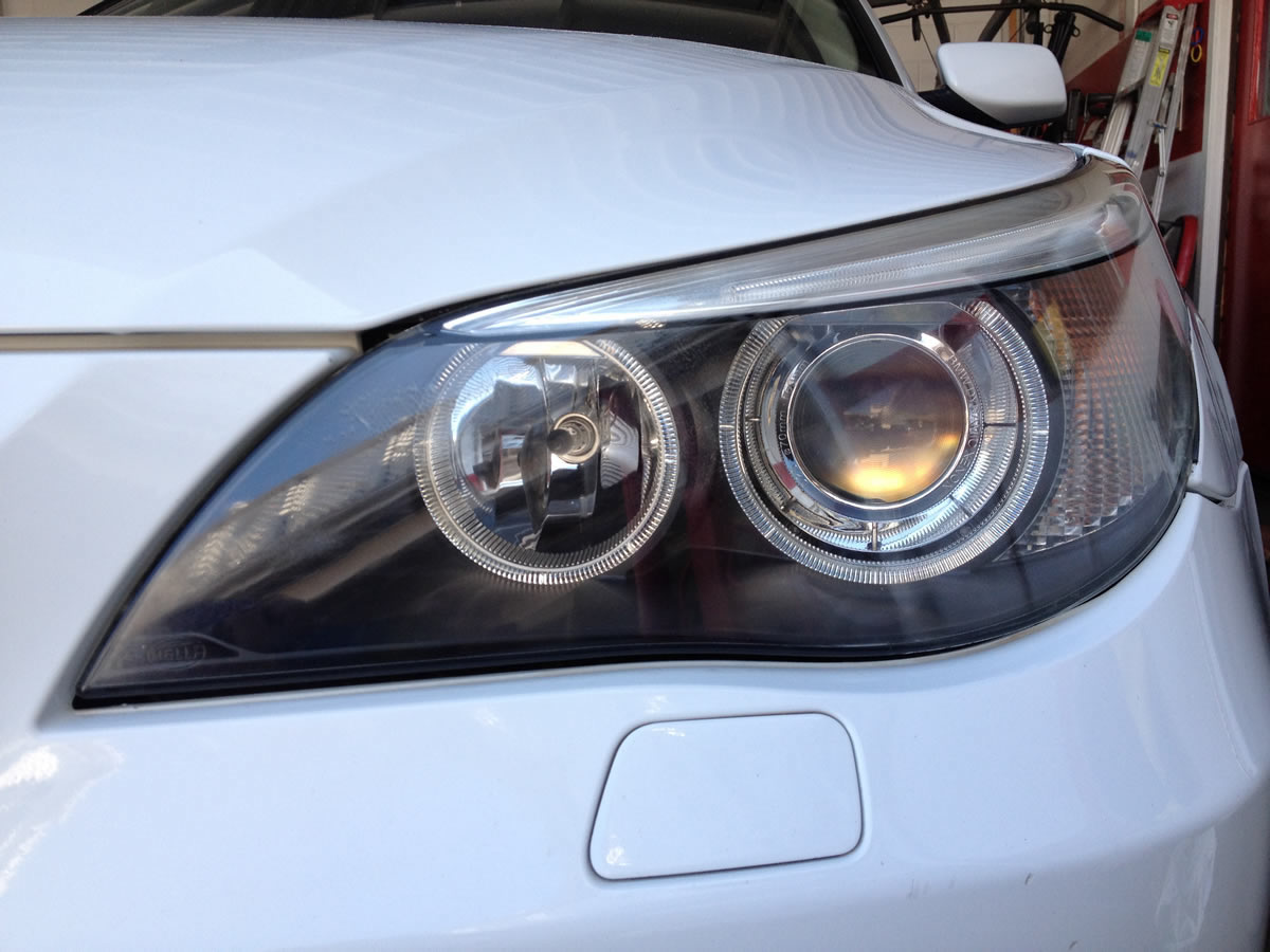 BMW 530i Headlights After Restoration Left Headlight View