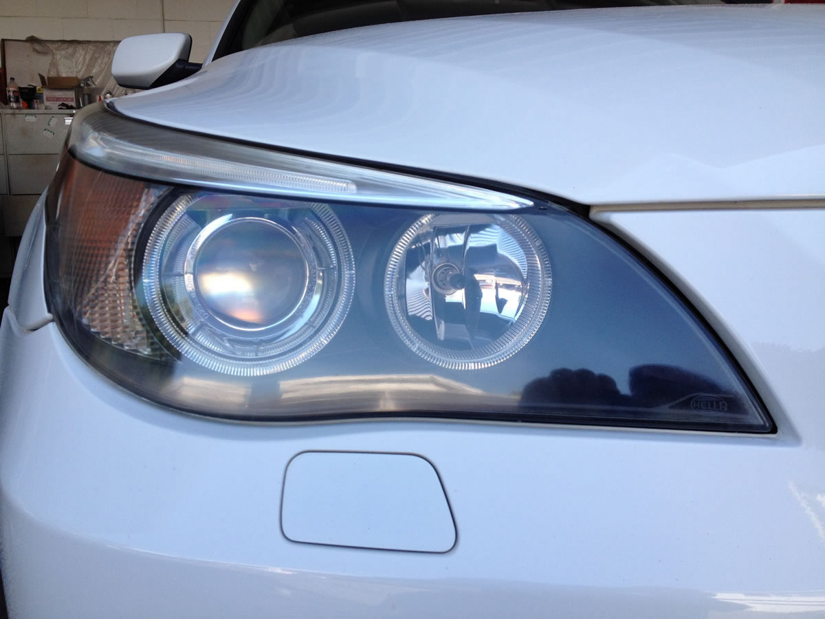 BMW 530i Headlights After Restoration Right Headlight View