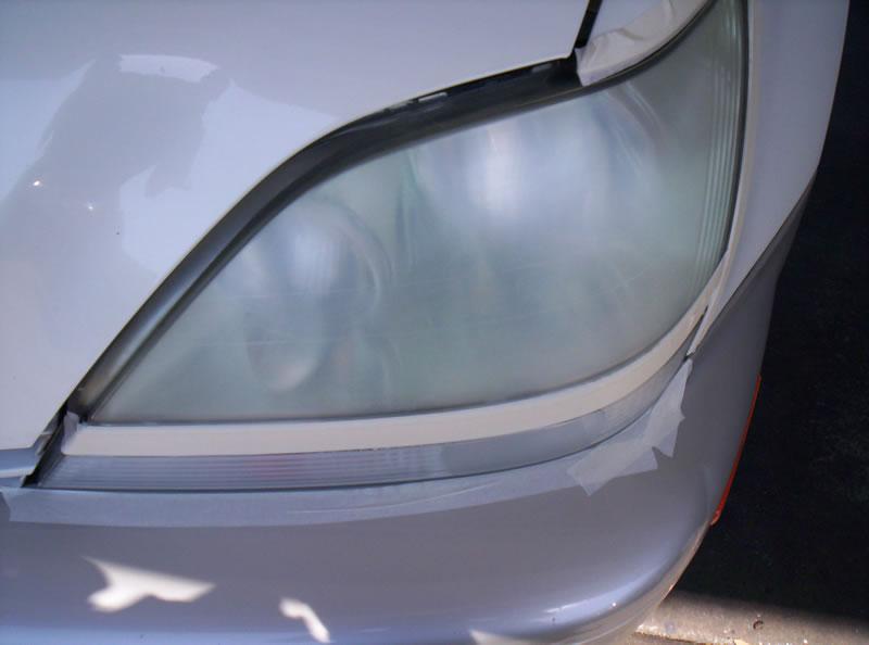 Lexus RX Headlights During Restoration Sanding Left Headlight View