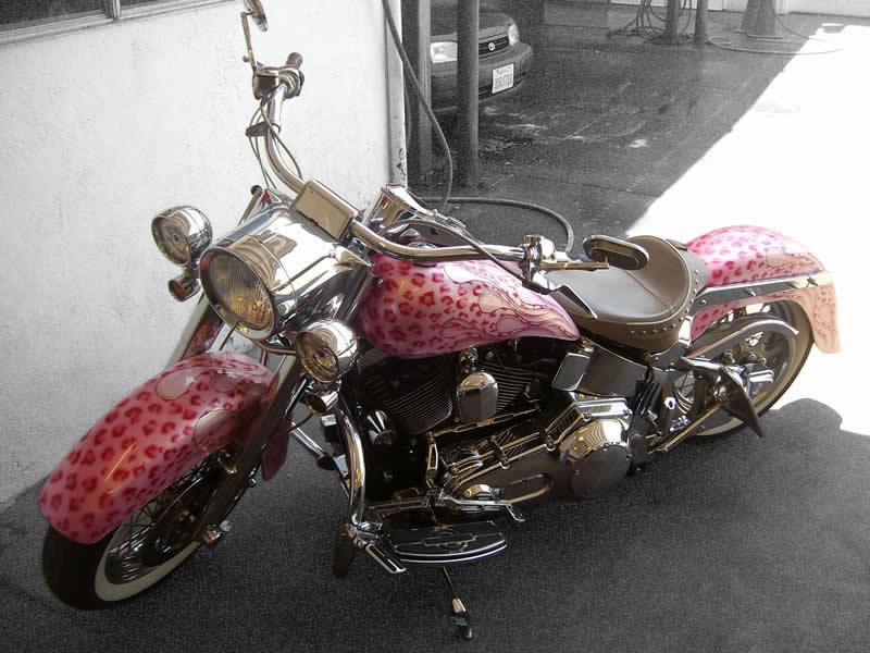 Motorcycle Detailing - Pink Harley Davidson