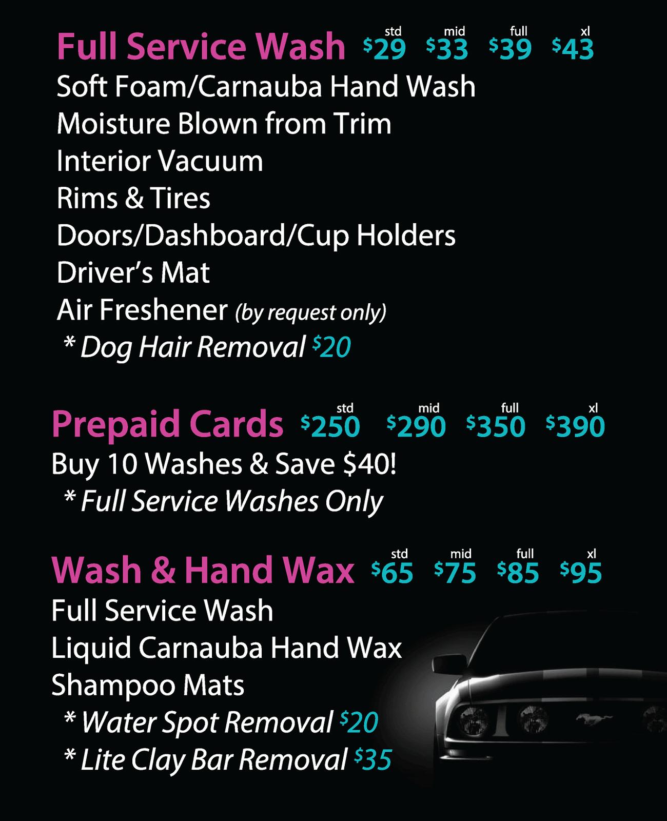 Wash and Wax Menu